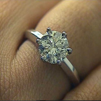 1.11ct G-SI1 Round Diamond Engagement Ring 18kt White Gold EGL certified JEWELFORME BLUE