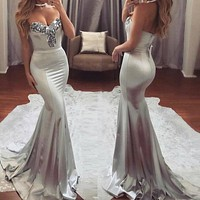 Sexy Strapless Sequins Dress 2018 Women's Maxi Dresses Slim Elegant Fit and Flare Formal Long Sheath Dresses Prom Party Dress