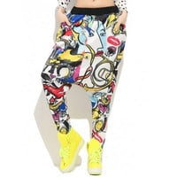 Fashionable Drop Crotch Print Women's Harem Pants