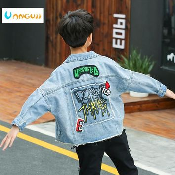 Trendy boy's  jacket, kids denim jacket4-13 year old spring coat fashion Fringe printing Loose leisure children's outwear all matc AT_94_13