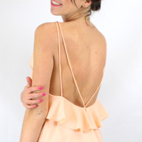 Back in the Game Ruffled Low Back Strappy Tank Top - Peach