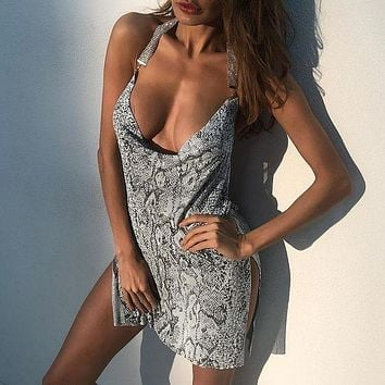 Sexy ladies nightclub metal snake print slit dress