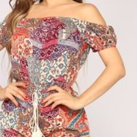 On The Brink Romper - Mauve multi