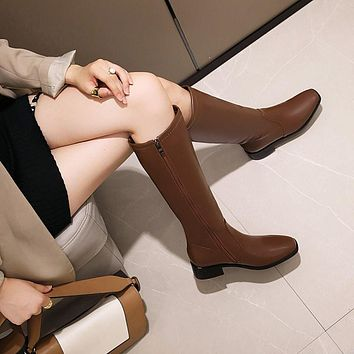 Women Soft Leather Low Heel Knee High Boots