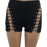 Tay Lace Up High Waist Shorts