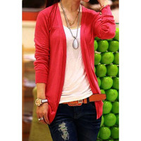 Long Sleeve Collarless Open Front Cardigan