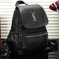 YSL Fashion New Women Leather Backpack Bag Black