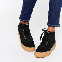 Keds | Keds Platform Hi Top Canvas Trainers With Gum Sole at ASOS