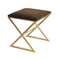"Worlds Away Upholstered ""X"" Stool"