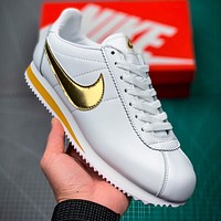 Nike Classic Cortez Premium Women's Men's Shoes Forrest Shoes White gold hook