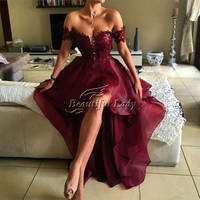High Low Long Prom Dresses 2017 Charming Lace Organza Low Back Boat Neck Beach Evening Prom Gowns Sexy Arabic Formal Dress