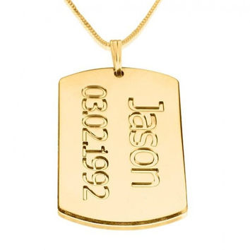 24K Gold Plated Dog Tag Plate with Name and Date Necklace