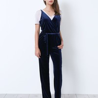 Edge And Sweet Velvet Jumpsuit - Navy