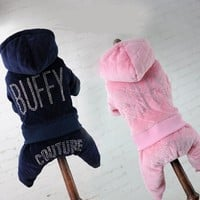 New Pet cotton jacket Plus velvet hot-fix rhinestone dog clothes for small dogs Four legs pants winter dog coat clothing costume