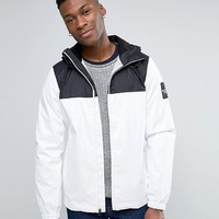 The North Face Mountain Q Jacket Hooded Sleeve Logo in White/Black at asos.com