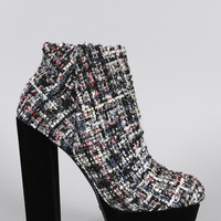Bamboo Tweed Sequin Chunky Heeled Platform Ankle Boots
