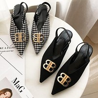 Balenciaga New Trending Women Stylish Metal BB Buckle Pointed Shoes Single Shoes(2-Color) I13722-1