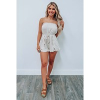 Handle With Care Romper: Stone