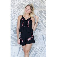 Black Embroidered Two Piece Short Set