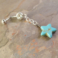 Turquoise Star Belly Button Jewelry Ring