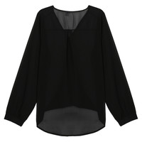 Black V Neck Wrap Long Sleeve Chiffon Blouse