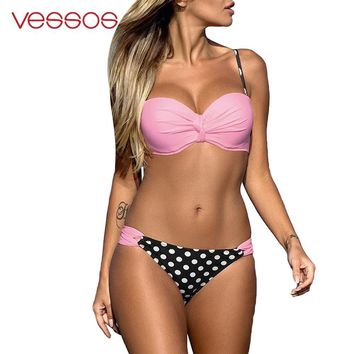 Vessos 2 PCS Womens Summer Polka Dot Padded Push-Up Triangle Bra Bikini Set Swimsuit 3XL