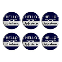 Johann Hello My Name Is Plastic Resin Button Set of 6