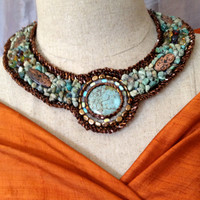 Turquoise Necklace, Copper Colored Beaded Trim, African Turquoise Nuggets