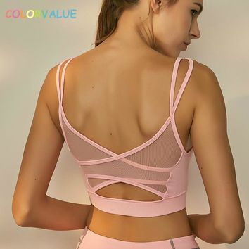 Colorvalue Sexy Backless Fitness Yoga Bra Women Breathable Mesh Running Jogger Sport Brassiere Padded Athletic Workout Underwear