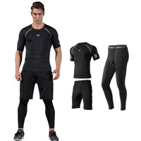 Readypard  New Fitness Men Gym Clothes Set Workout Clothes Quick Dry Sports Leggings and Short Sleeve T shirts Men Sport Suit