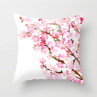 Watercolor Cherry Blossoms Throw Pillow by Yao Cheng Design   Society6