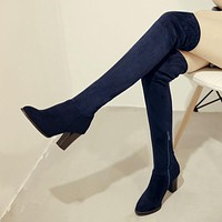 Faux Suede Sexy thigh high boots Women over the knee boots Ladies Autumn Spring High heels boots shoes black blue red