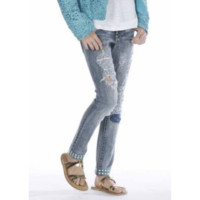 Fun&Fun - Teen Girls Ripped Jeans With Pyramid Studs, Denim - 36