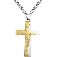 Stainless Steel Cross W. Ip Tablet Prayer in English Pendant Necklace
