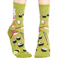 Sushi Patterned Food Themed Socks in Olive Green | DOTOLY