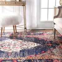 nuLOOM Traditional Distressed Medallion Navy Rug (5'3 x 7'7)   Overstock.com Shopping - The Best Deals on 5x8 - 6x9 Rugs