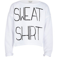 River Island Girls white sweatshirt print sweatshirt