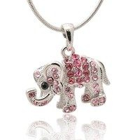 Silver Plated Crystal Raised Trunk Elephant Necklace