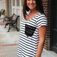 Crochet Pocket Tee {Black}