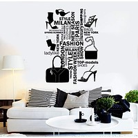 Vinyl Wall Decal Fashion Salon Woman Style Words Girl Stuff Stickers Unique Gift (ig4555)