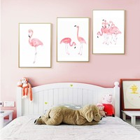 Pink Flamingoes Canvas Paintings Home Decor