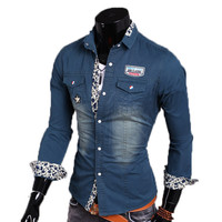 New Classic Bleached Design Men's Casual Shirt