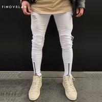 2017 new Men white Jeans Stretch Destroyed Ripped Design Fashion Ankle Zipper Skinny Jeans For Men