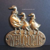 Vintage Brass Sign, Welcome Sign, Geese / Goose Entrance / Door Decor, Vintage Welcome Sign