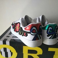 """""""Gucci"""" Women Casual Fashion Multicolor Stripe Embroidery Flower  Plate Shoes Small White Shoes Sneakers"""
