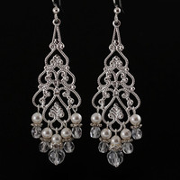 Chandelier Bridal Earrings, Silver Dangling Earrings with White Pearls and Crystal, Jane Collection
