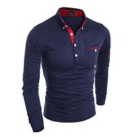 New 2017 Autumn Polo shirt Long Sleeve Men Tops Tees Polka Dots Design Camisa Polo Masculina BodyBuilding Shirts For Men MQ378