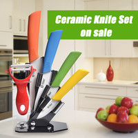 "High quality Zirconia kitchen knives ceramic knife set 3"" 4"" 5"" 6"" inch with peeler Chef Kitchen Knife Set Tools"