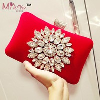 2017 New Single Side Sun Diamond Crystal Evening Bags Clutch Bag Hot Styling Day Clutches Lady Wedding Women Bag Chains Bag