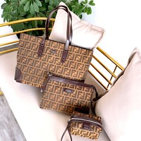 Fendi new women's shopping bag handbag canvas three-piece